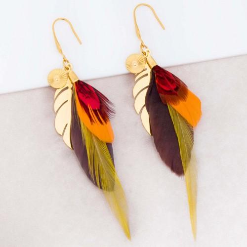 Boucles d'oreilles NATIVE Red Gold Pendantes longues Plumes ethniques Doré Rouge Orange Chocolat Acier inoxydable doré à l'or