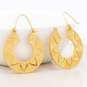 Boucles d'oreilles KORI Gold Créoles disques Couronne de feuilles Doré et Doré Acier inoxydable doré à l'or fin