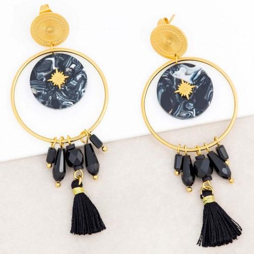 Boucles d'oreilles ASTOL Black Gold Pendantes ajourées à pendentif Solaire Doré et Noir Acier inoxydable Cristaux Résines Pompon