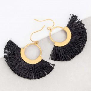 Boucles d'oreilles CORDOSA Black Gold Pendantes ajourées à frange Ethnique amérindien Doré et Noir Acier inoxydable Tissage