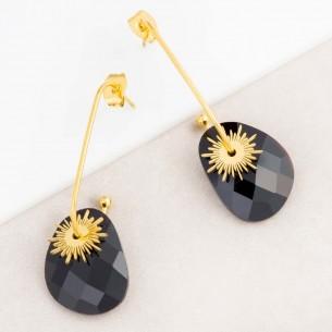 Boucles d'oreilles SUNSTAR Black Gold Dormeuse créoles à pendentif Solaire Doré et Noir Acier inoxydable doré à l'or fin Cristal