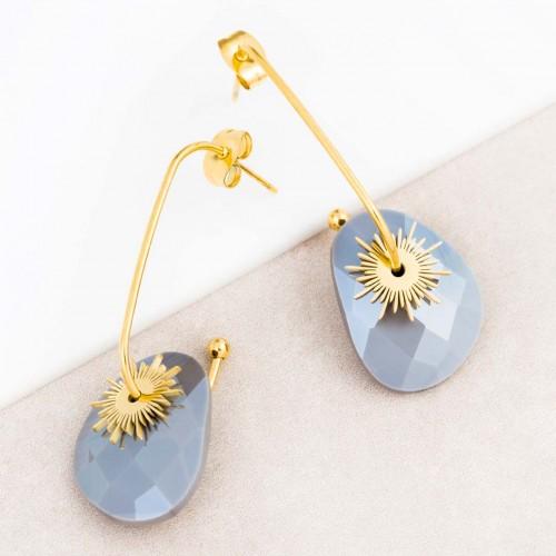 Boucles d'oreilles SUNSTAR Grey Gold Dormeuse créoles à pendentif Solaire Doré et Gris Acier inoxydable doré à l'or fin Cristal