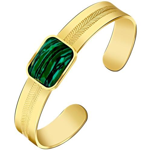 GEOLYS Gold Silver bracelet manchette acier Malachite verte argent doré