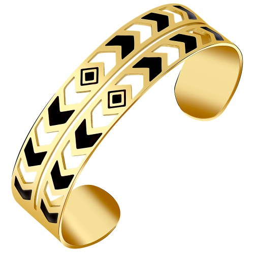 CAROL Black Silver Gold ethnic cuff...