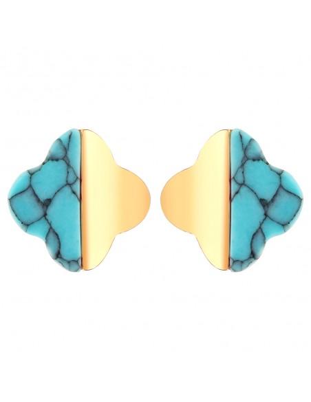 Bijoux boucle d'oreille trèfle Menthe À l'O FLORESTINE puce courte acier inoxydable doré argent turquoise Bijoux Sauvages
