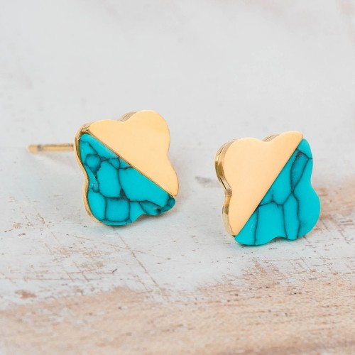 FLORESTINE Blue Gold Silver earrings...
