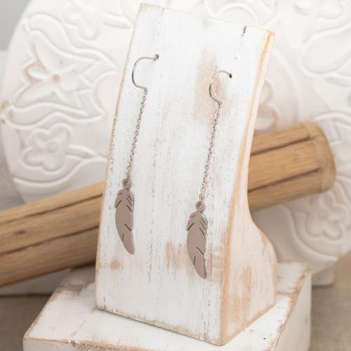 Bijoux boucle d'oreille plume Menthe À l'O ANGEL pendante fine acier inoxydable argent Bijoux Sauvages