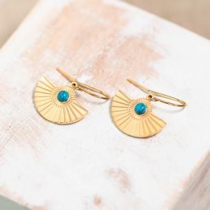 Bijoux boucle d'oreille Menthe À l'O OTTAWA pendante courte acier inoxydable doré argent turquoise Bijoux Sauvages