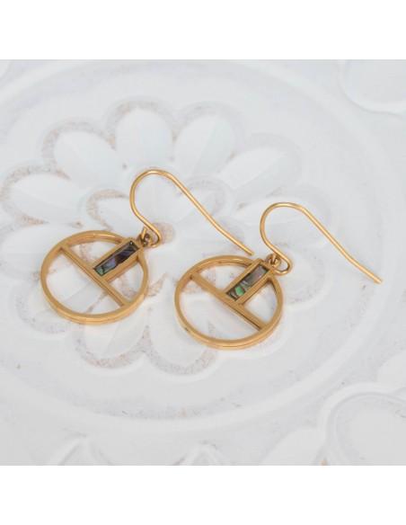 Bijoux boucle d'oreille Menthe À l'O FIDGY pendante courte acier inoxydable doré argent nacre Bijoux Sauvages