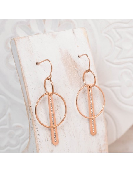 Bijoux boucle d'oreille Menthe À l'O ENORA pendante acier inoxydable argent cristal Bijoux Sauvages