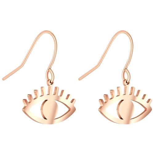 Bijoux boucle d'oreille Menthe À l'O EXYM pendante courte acier inoxydable argent rosé cristal Bijoux Sauvages