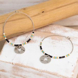 Bijoux boucle d'oreille Menthe À l'O SIEGO créole acier inoxydable argent perles semi precieuse cristal Bijoux Sauvages