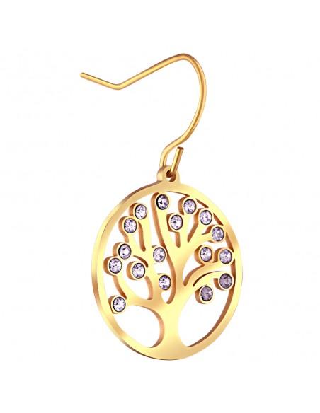 Bijoux boucle d'oreille arbre de vie Menthe À l'O LICASSE pendante courte acier inoxydable doré argent cristal Bijoux Sauvages