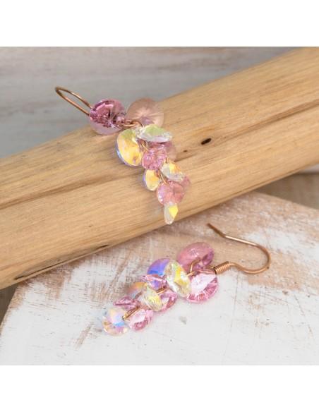 Bijoux boucle d'oreille Menthe À l'O PAOLAS pendante courte acier inoxydable doré rosé cristal Bijoux Sauvages