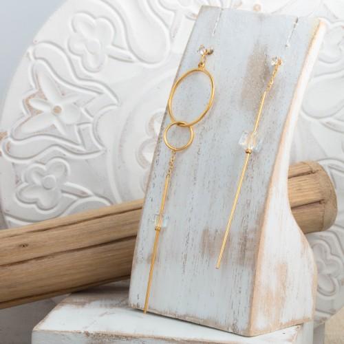 Bijoux boucle d'oreille Menthe À l'O MARLENE pendante acier inoxydable doré argent cristal Bijoux Sauvages