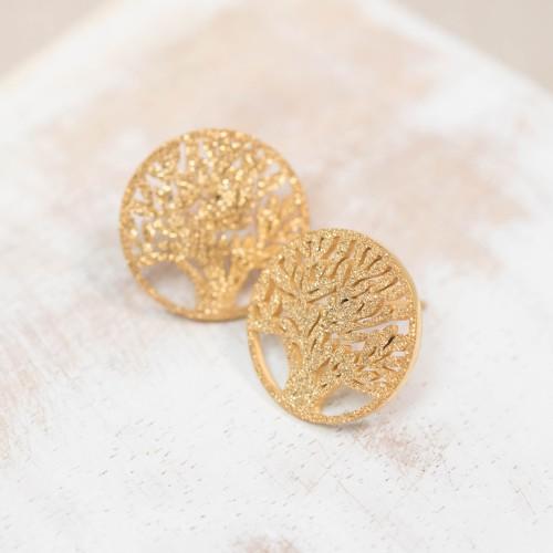 WILD TREE Silver Black Gold earrings...