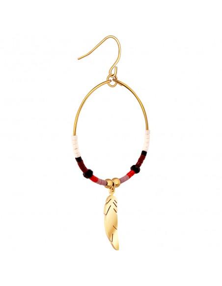 Bijoux boucle d'oreille Menthe À l'O LIBRA créole plume pendante acier inoxydable doré argent cristal Bijoux Sauvages
