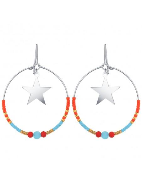 Bijoux boucle d'oreille Menthe À l'O MONIA Créole étoile pendante acier inoxydable argent cristal Bijoux Sauvages