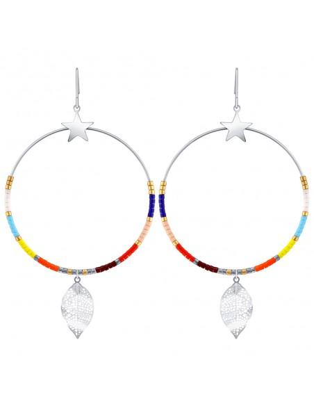 Bijoux boucle d'oreille Menthe À l'O FLANDRE créole pendante acier inoxydable argent multicolore perles Bijoux Sauvages