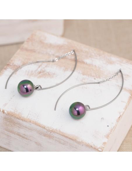Bijoux boucle d'oreille Menthe À l'O ALICE pendante acier inoxydable argent perles semi précieuse Bijoux Sauvages
