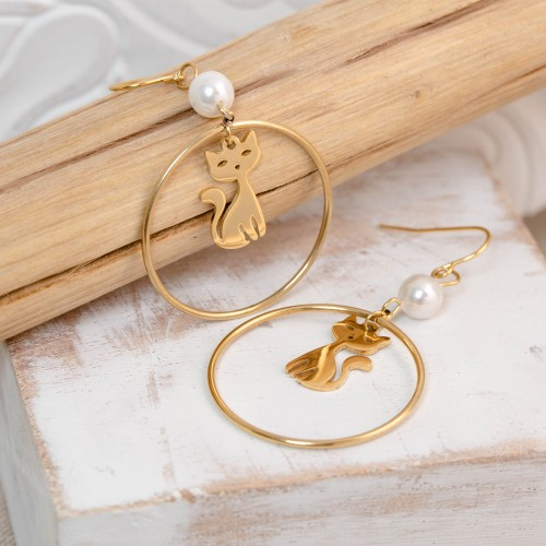 CATY Gold Silver boucles d'oreilles...