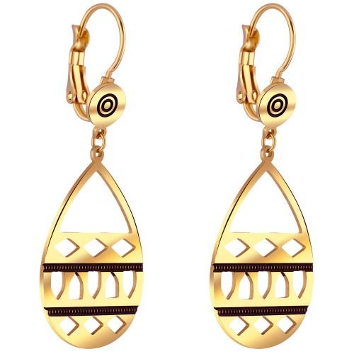 Bijoux boucle d'oreille Menthe À l'O GRAZI pendante courte acier inoxydable doré argent Bijoux Sauvages
