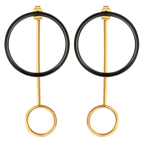 Bijoux boucle d'oreille Menthe À l'O MESTA pendante acier inoxydable doré Bijoux Sauvages