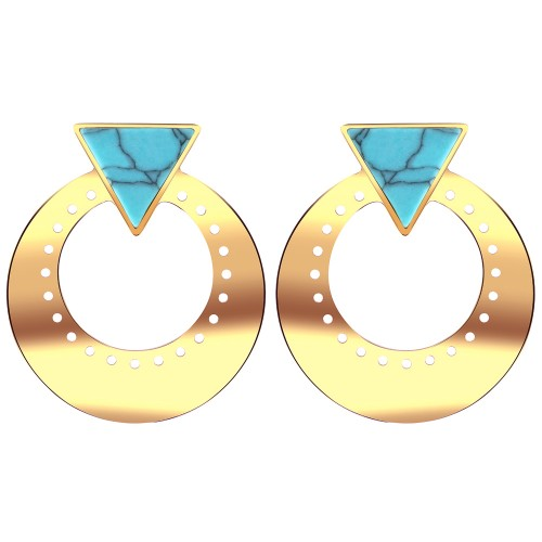 Bijoux boucle d'oreille Menthe À l'O UZAGUE courte acier inoxydable doré argent turquoise Bijoux Sauvages