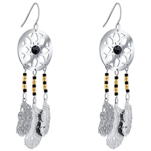 SUENOL SIlver pendant earrings ethnic...