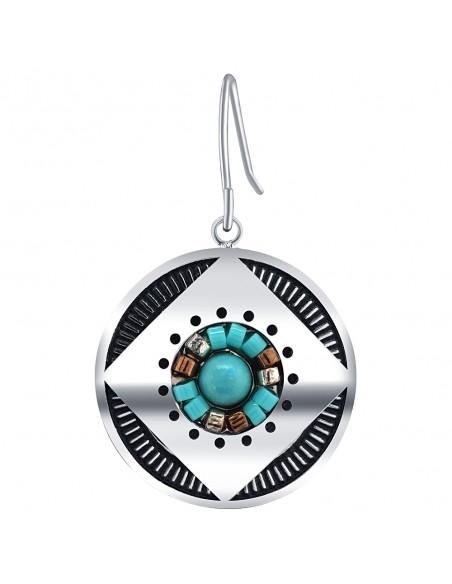 Bijoux boucle d'oreille Menthe À l'O JURIN courte acier inoxydable argent turquoise perles Bijoux Sauvages