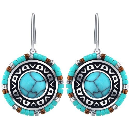 Bijoux boucle d'oreille Menthe À l'O AKAJE courte acier inoxydable argent turquoise perles Bijoux Sauvages