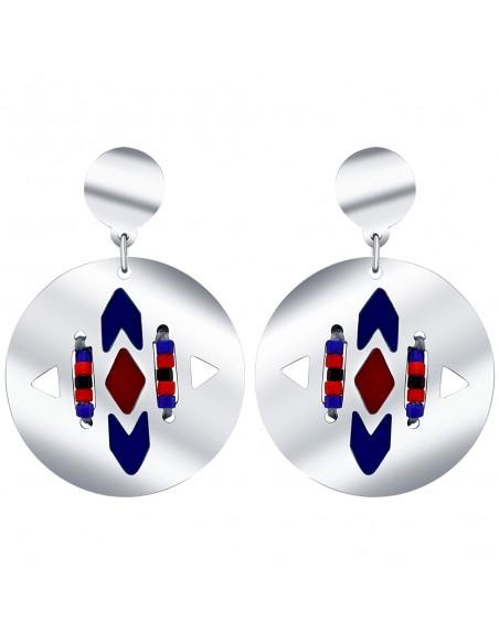 Bijoux boucle d'oreille Menthe À l'O TANIS courte acier inoxydable argent perles Bijoux Sauvages