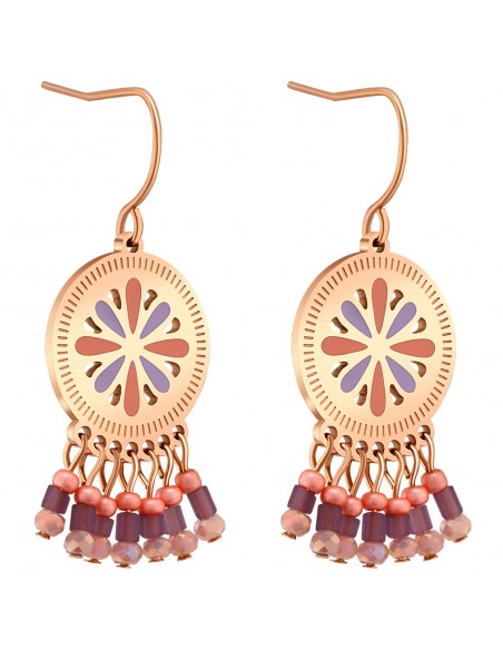 Bijoux boucle d'oreille Menthe À l'O LIZY pendante courte acier inoxydable Rosé cristal Bijoux Sauvages