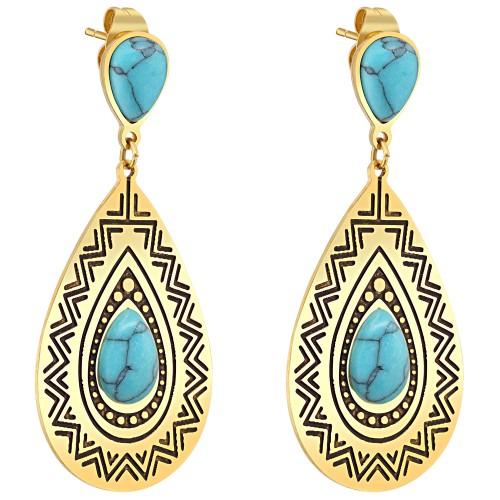 Bijoux boucle d'oreille Menthe À l'O FRANCESCA pendante courte acier inoxydable doré argent turquoise Bijoux Sauvages