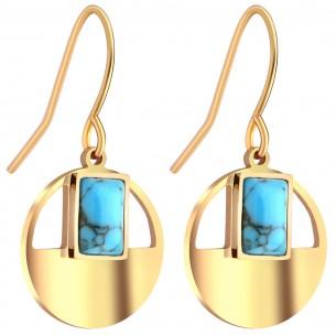 Bijoux boucle d'oreille Menthe À l'O JANGO courte acier inoxydable doré turquoise Bijoux Sauvages