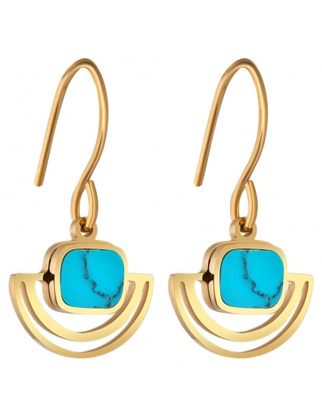 Bijoux boucle d'oreille Menthe À l'O LYZO pendante courte acier inoxydable turquoise Bijoux Sauvages doré argent