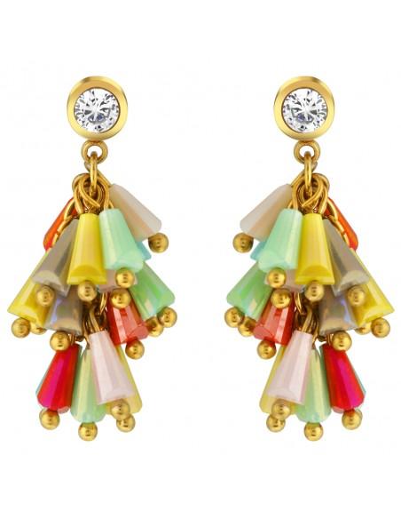 Bijoux boucle d'oreille Menthe À l'O GLORIA pendante courte acier inoxydable doré cristal Bijoux Sauvages