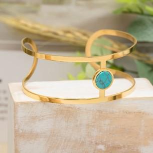 KORFU Blue Gold Silver bracelet manchette turquoise minimaliste acier argent doré