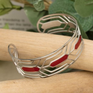 DALI Red Silver ethnic cuff...