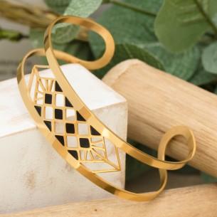 Bijoux bracelet manchette MODAMIA Menthe À l'O fin  acier inoxydable doré argent Bijoux Sauvages