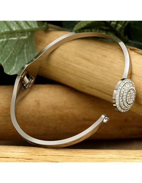 Bijoux bracelet manchette NOVA Menthe À l'O fin  acier inoxydable Rosé argent cristal Bijoux Sauvages