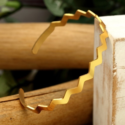 WAVE Gold Silver bracelet jonc acier...