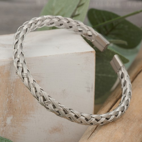 KELVY Silver Pink Gold braided bangle...
