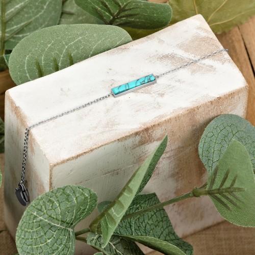 ROCAS Blue Silver bracelet chaine...