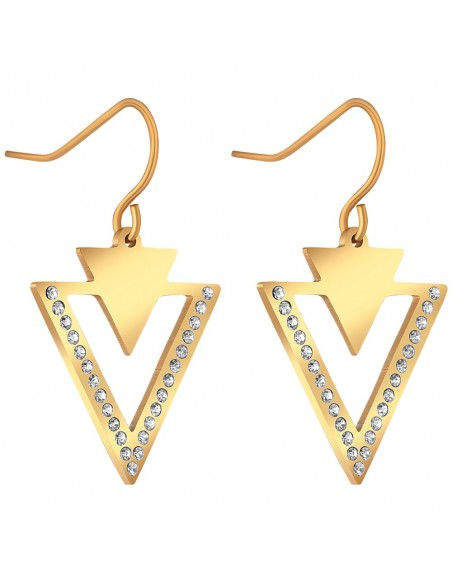 Bijoux boucle d'oreille Menthe À l'O GUERANIS pendante courte acier inoxydable doré argent cristal Bijoux Sauvages