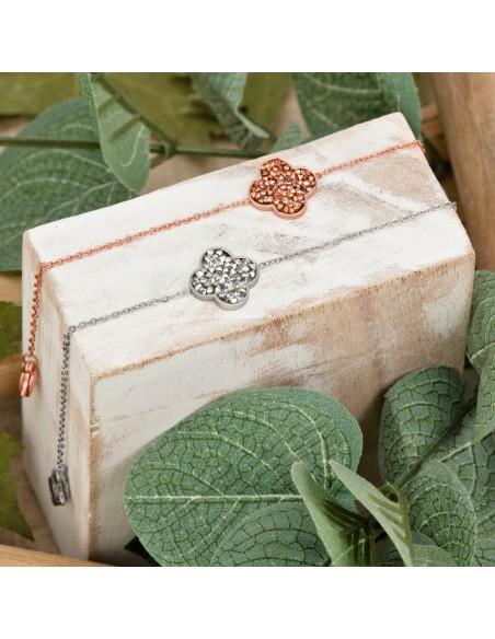 Bijoux bracelet trèfle AMARANDE Menthe À l'O fin acier inoxydable rosé argent cristal Bijoux Sauvages