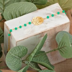 Bijoux bracelet feuille FOREST Menthe À l'O fin  acier inoxydable doré Rosé perles Bijoux Sauvages
