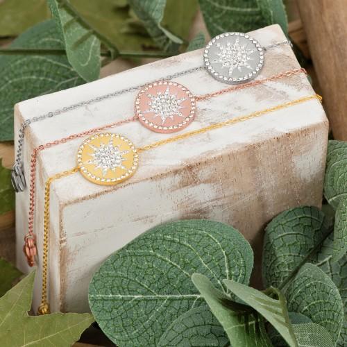 Bijoux bracelet SNOW Menthe À l'O fin  acier inoxydable doré argent cristal Bijoux Sauvages