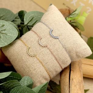 CELESTA Silver Pink Gold bracelet chaine fine symbole solaire acier doré argent rosé