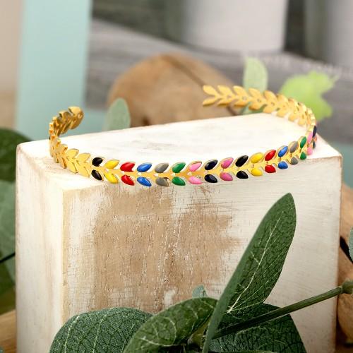 NOGUERA Color Gold bracelet jonc couronne laurier acier argent multicolore